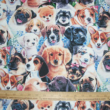 Cotton Fabric DIGITAL Print  A bunch of Puppy Dogs floral flowers Puppies  BTY