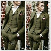 Olive Green Men Tweed Plaid Suit Vintage Tuxedo Party Prom Dinner Wedding Suit