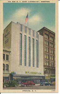 W.T. Grant Store Syracuse NY Vintage 1950 Linen Postcard