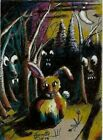 "Jacob Landis Limited edition ACEO print /250 Rabbit Animals  moon ""Scary Night"""
