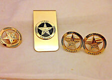 Engraved Texas Ranger Badge Set, Cuff Links, Lapel Pin and Money Clip (goldtone)