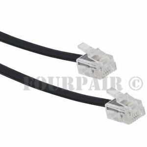 10ft Telephone Line Cord Cable 6P6C RJ12 RJ11 DSL Modem Fax Phone to Wall Black