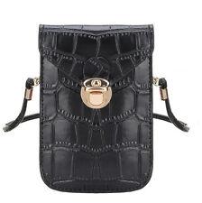 Elegante kleine Damen-Handtasche Schultertasche Krokoleder-Optik Schwarz