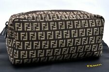 Authentic FENDI Zucchino Pouch Canvas Leather Brown A0604