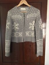 RONIT ZILKHA CROPPED KNITTED WOOL NORWEGIAN STYLE CARDIGAN SIZE 12/14