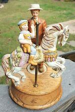 "Lg 9.5"" Melodies Porcelain ""Carousel Waltz"" Horse Music Box Father Son Figures"