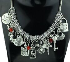 Disney's Mickey Mouse (11 Themed Charms) Silvertone Charm Necklace