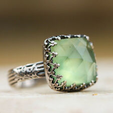 Women Silver Natural Gemstone Peridot Moonstone Wedding Jewelry Band Ring Size 7