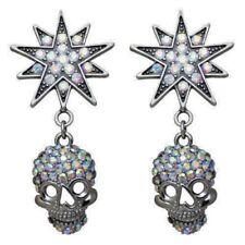 Kirks Folly Starlight Skull King Pierced Earrings Black Diamond Crystals ST