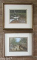 Ronald Lewis signed painting set 2 Road Stream landscape picture 1984 lot pair