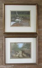 Ronald Lewis signed painting set 2 Road Stream landscape picture 1984 lot pair