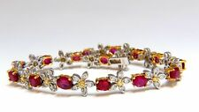 7.28ct Red natural ruby diamonds flower cluster tennis bracelet 18kt