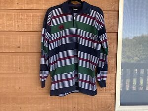 Canterbury rugby jersey, size medium - green , white, blue and red striped