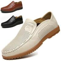 Mens hollow out genuine leather slip on loafer sandal  casual shoes sandal