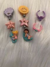 Vintage Polly Pocket Moon / Beachy Clip On Earrings Hard To Find 1991 And Rings
