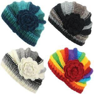Chunky Wool Knit Beanie Hat Women Ladies Warm Winter Shell Flower