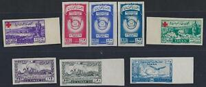 LEBANON 1940s A SELECTION OF 8 IMPERFS INCLUDES RED CROSS UPU AIR MAIL NO GUM