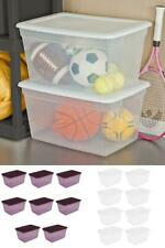 8 Pack Storage Tote Bin Box Clear Plastic Stackable Container with Lid 58 Qt New
