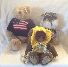 3 Ty Attic Treasures Collections Socrates Owl Susannah & Grant Bears With tags
