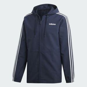 NWT Men's Adidas Essentials 3-Stripes Woven Windbreaker Size S-2XL MSRP $65