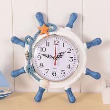 Home Decor Mediterranean Clock Nautical Anchor Wooden Wall Clock Art Clock Retro