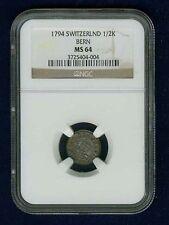 SWITZERLAND  BERN  1794  1/2 KREUZER, CHOICE UNCIRCULATED,  CERTIFIED NGC MS64
