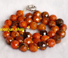 10mm yellow Azurite Faceted Round Beads Gemstone Necklace 18""