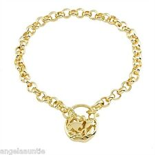 18K Yellow Gold Filled Filigree Heart Padlock Bracelet (B-230)