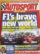 AUTOSPORT MAGAZINE SEP 2002 F1 BRAVE NEW WORLD RAISING BAR THOMMO TITLE SANREMO