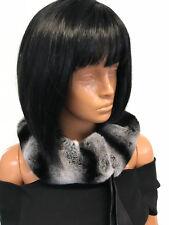 Rex rabbit fur scarf.Chinchilla print. Silky ribbons