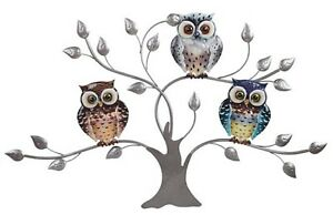 """Owl Metal Wall Art Hanging Three Owls in a Tree 28"""" Wide 63124"""