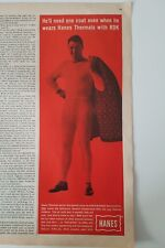 1961 HANES men's underwear Longjohn's thermal shirts with rdk ad