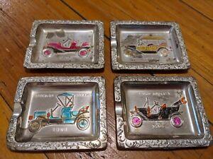 Set 4 Vintage Mini Ashtrays Antique Cars Silver-toned Collectables 6x5cm