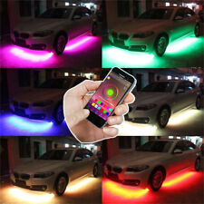 4x Universal RGB Colorful Car Under Body LED Light Strip Blueteeth App 90+120cm