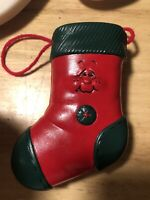 Wall Pocket ceramic red Christmas Stocking Sock Handcrafted signed Art  '81