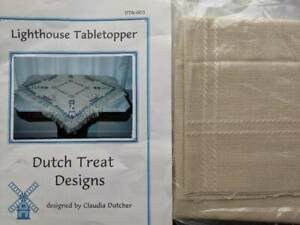 Dutch Treat Designs LIGHTHOUSE TABLETOPPER Cross Stitch Chart+Fabric