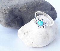 Sterling Silver Ring Jewish Star of David W-Opal israel Judaica size-us 8 /eur18