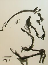 Jose Trujillo Ink Wash New 18x24 Original Horse Stallion Painting Equestrian Art