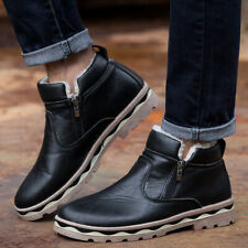 Mens Fleece Lined Ankle Snow Boots Winter Warm Outdoor Slip On Riding Shoes HOT