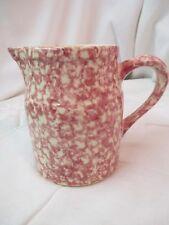 "Vintage Gerald Henn red pink Spongeware Pitcher Vase 6"" Roseville Ohio"