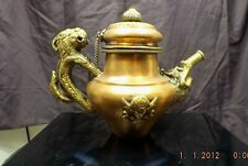 BRASS TIBETAN TEA POT 8 INCHES TALL 9 3/4 INCHES HANDLE TO SPOUT TIP