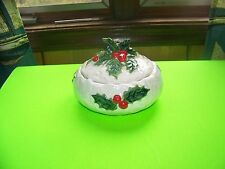 Lefton Christmas Candy dish with lid 1970/71