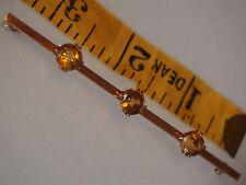 "7gr Antique Victorian 9k Gold Rose 3 Citrine Stones 8mm Brooch Pin 3.5"" Large"