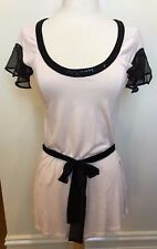 WITCHERY BNWT Pale Pink Black Sheer Sequinned Sleeve Neck Tie Waist Long Top S