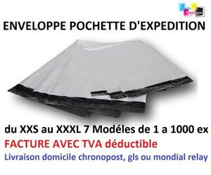 enveloppes sacs pochettes plastique envoi postal opaque blanches A6 A5 A4 A3 XXL