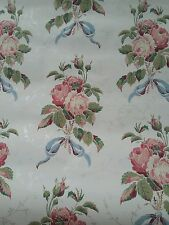 Vintage wallpaper large roses with bow silver vines light reflect 69FT 2ROLLS