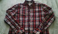 MENS RED BLACK GREY CHECKED LONG SLEEVE SHIRT NEW YORK CITY SIZE XL
