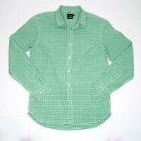 Sportscraft Men's Tapered Fit Gingham Plaid Long Sleeve Green Shirt Size M