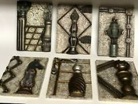 Bombay Company Hanging Chess Pieces Set of 6 Wall Decor Plaques