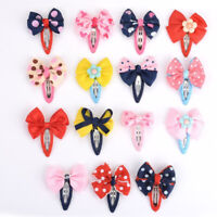 15X Bowknot Hair Snaps Hair Clips Baby Kids Children Headwear Hair Accessories